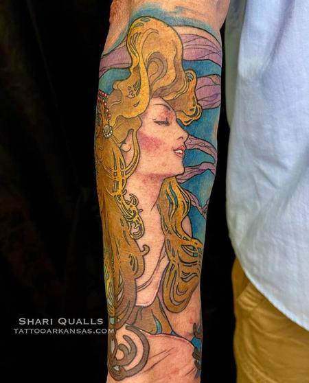 Alphonse Mucha Inspired Tattoo by Shari Qualls at Lucky Bella Tattoos in North Little Rock, Arkansas  Tattoo Design Thumbnail