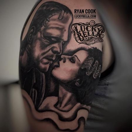 Ryan Cook - The Monster and his Bride by Ryan Cook at Lucky Bella Tattoos in North Little Rock