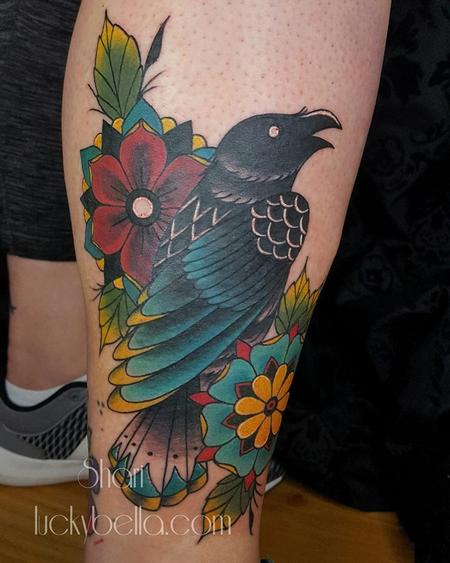 Traditional Raven and Flowers  Tattoo Design Thumbnail