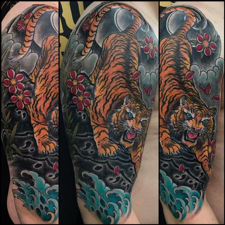 Howard Neal - Asian Tiger Half Sleeve with Finger Waves