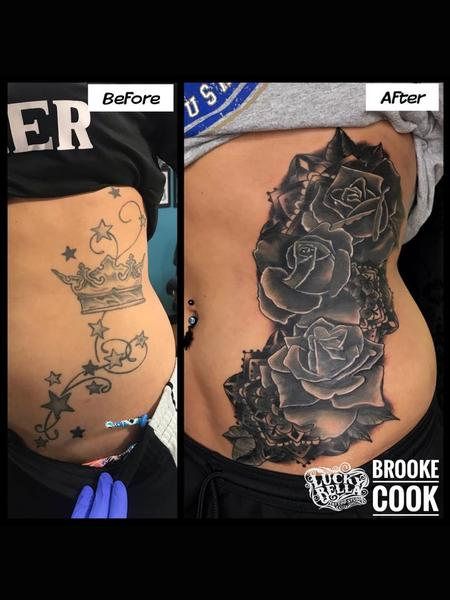 Tattoos - Black and Gray Roses Coverup  - 137439