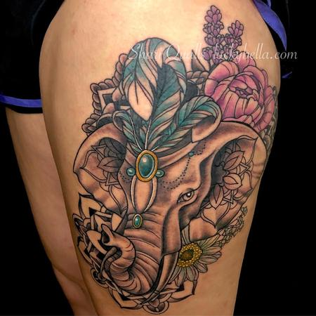 Tattoos - Black and Gray Elephant with Color Feather Headress - 137407