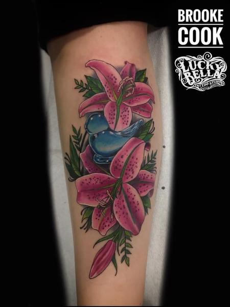 Tattoos - Bluebird of Happiness and Pink Lilies by Brooke Cook at Lucky Bella Tattoos in North Little Rock Arkansas - 137563