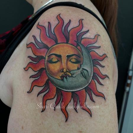 Tattoos - Traditional Sun and Moon by Shari Qualls at Lucky Bella Tattoos in North Little Rock Arkansas - 137547