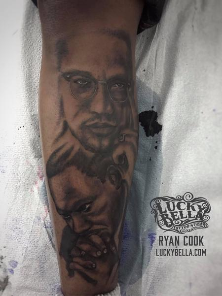 Tattoos - MLK and Malcolm X Portraits - 137626