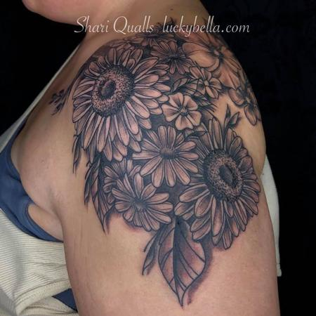 Tattoos - Black and Gray Flowers  - 137566