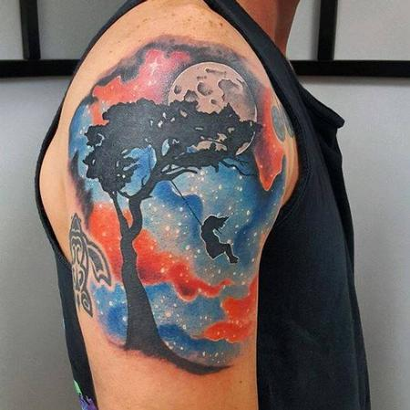 Tattoos - Galaxy and Silhouette of Girl Swinging on Tree  - 137617