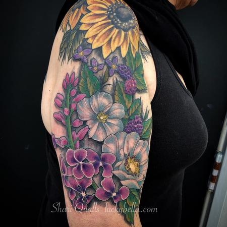 Shari Qualls - Flower Half Sleeve by Shari Qualls at Lucky Bella Tattoos in North Little Rock Arkansas