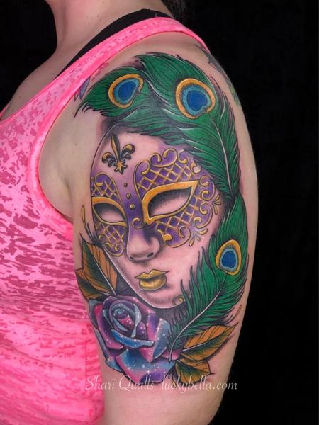Mardis Gras Mask with Galaxy Rose  Tattoo Design Thumbnail