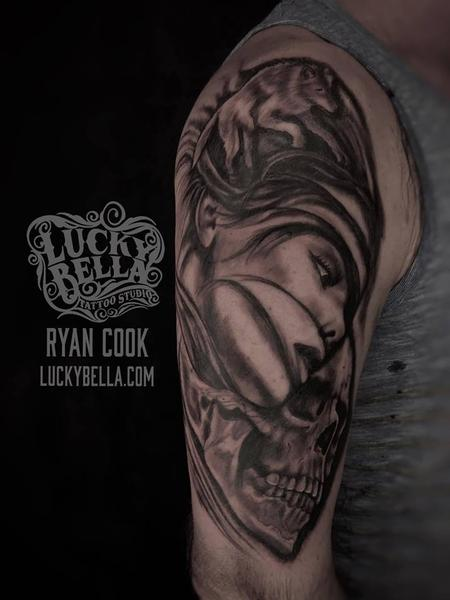 Tattoos - Girl Face and Skull by Ryan Cook at Lucky Bella Tattoos in North Little Rock  - 138268