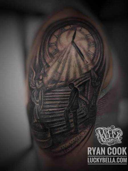 Tattoos - Stairway to Heaven by Ryan Cook at Lucky Bella Tattoos in North Little Rock Arkansas.  - 133300
