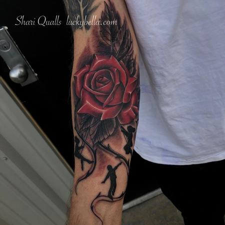 Tattoos - Realistic Rose with Children Silhouette  - 138336