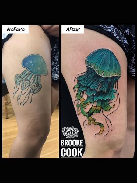 Brooke Cook - Jellyfish Fixup by Brooke Cook at Lucky Bella Tattoos in North Little Rock Arkansas