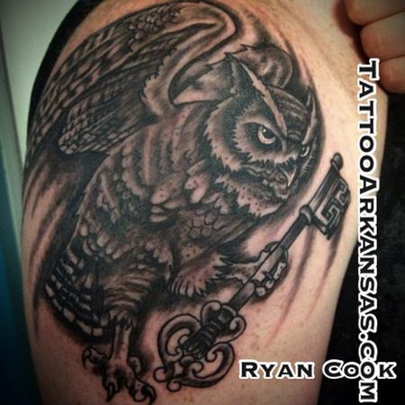 Tattoos - black and grey owl - 76270