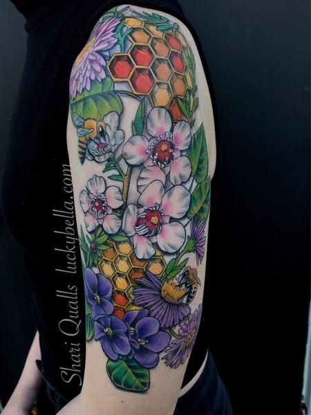 Shari Qualls - Manuka Honey Half Sleeve by Shari Qualls at Lucky Bella Tattoos in North Little Rock Arkansas