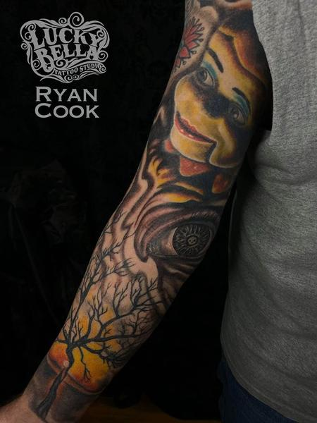 Tattoos - Ventriloquist Sleeve by Ryan Cook at Lucky Bella Tattoos in North Little Rock  - 140530