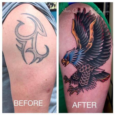 Shari Qualls - Traditional Eagle Tattoo Covering an Old Tribal Tattoo by Shari Qualls at Lucky Bella Tattoos in North Little Rock