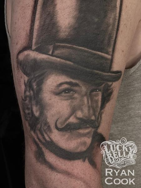 Tattoos - Bill the Butcher Portrait Tattoo by Ryan Cook at Lucky Bella Tattoos in North Little Rock  - 141316