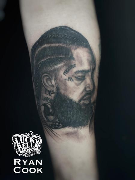 Tattoos - Nipsey Hussle Portrait by Ryan Cook at Lucky Bella Tattoos in North Little Rock  - 141461
