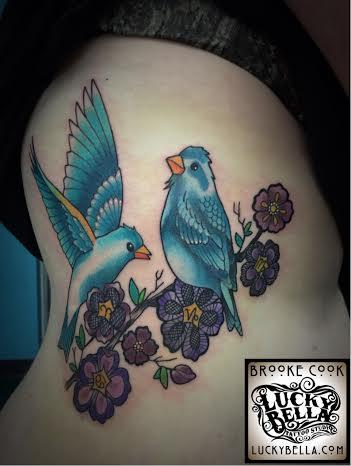 Tattoos - birds with lacy flowers - 102515