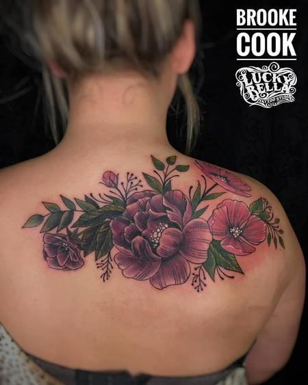 Tattoos - Flower Coverup on Upper Back by Brooke Cook at Lucky Bella Tattoos in North Little Rock Arkansas - 138421