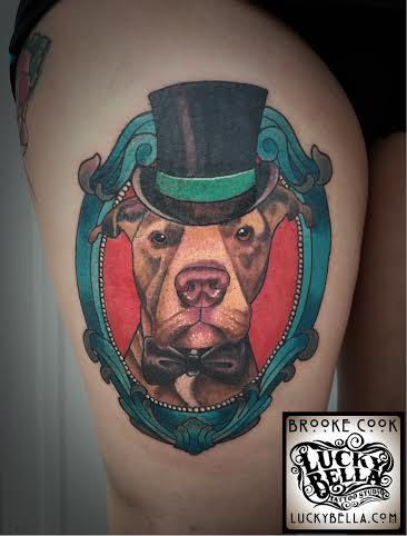Tattoos - Neotraditional Dog Portrait by Brooke Cook at Lucky Bella Tattoos in North Little Rock Arkansas - 101998