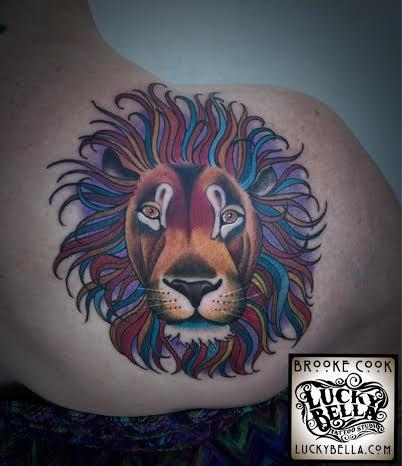 Tattoos - colorful lion - 102519
