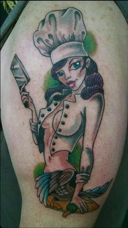 Tattoos - chef pin up - 101999