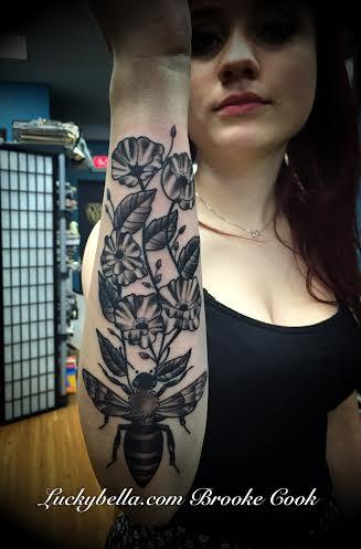 Tattoos - bee and flower tattoo - 98348