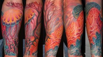 Tattoos - Custom Bio Organic and Jellyfish Tattoo - 44255