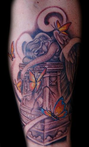 Tattoos - Weeping Angel with Butterflies Tattoo - 63893