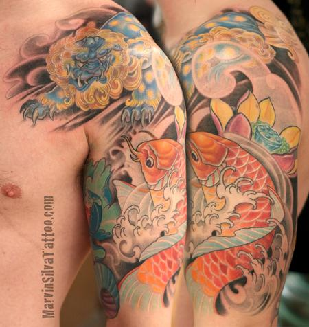 Tattoos - Koi Fish Fu Dog Tattoo - 87599