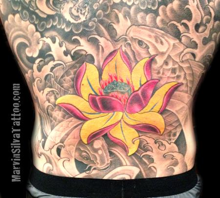 Tattoos - Lotus Flower and Koi Fish Tattoo - 73815