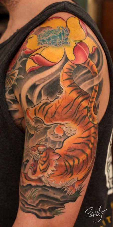Tattoos - Tiger Lotus Flower Tattoo - 84020