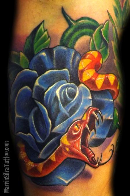 Tattoos - Snake Rose Tattoo - 67623