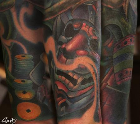 Tattoos - Custom Samurai Mask Tattoo - 115748