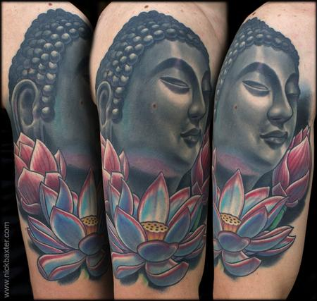 Tattoos - Buddha and Three Lotuses - 123088