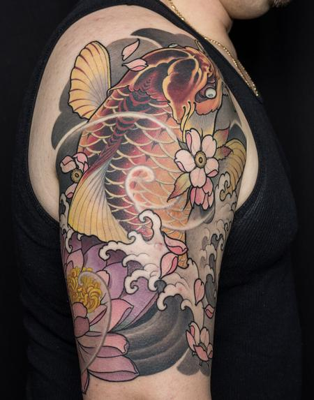 Japanese Koi Half Sleeve Tattoo Design