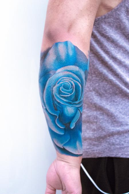 Tattoos - Blue Rose Half Sleeve - 132255