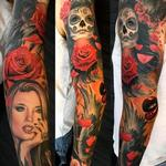 Alex De Pase full sleeve with Katrina Tattoo Design Thumbnail
