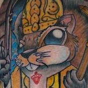 Squirrel Pope Tattoo Design Thumbnail