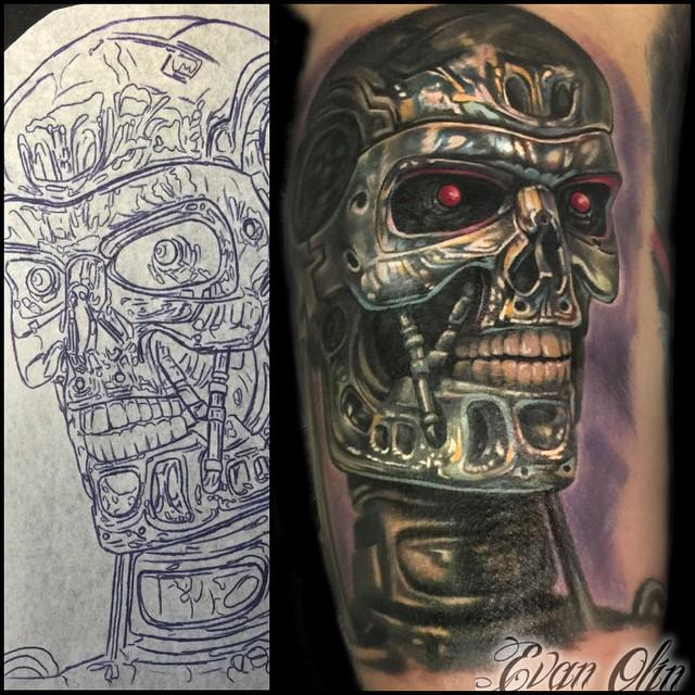 Terminator Tattoo And Stencil By Evan Olin Tattoonow