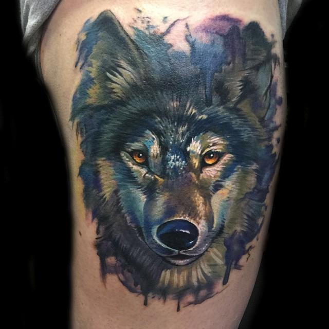 painterly watercolor realistic wolf tattoo by evan olin tattoonow. Black Bedroom Furniture Sets. Home Design Ideas