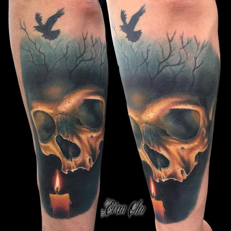 Full color realistic skull and candle tattoo by evan olin for Color skull tattoos