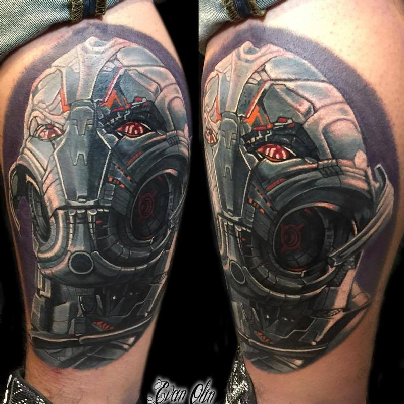 Ultron marvel comic tattoo by evan olin tattoonow for Marvel comics tattoos