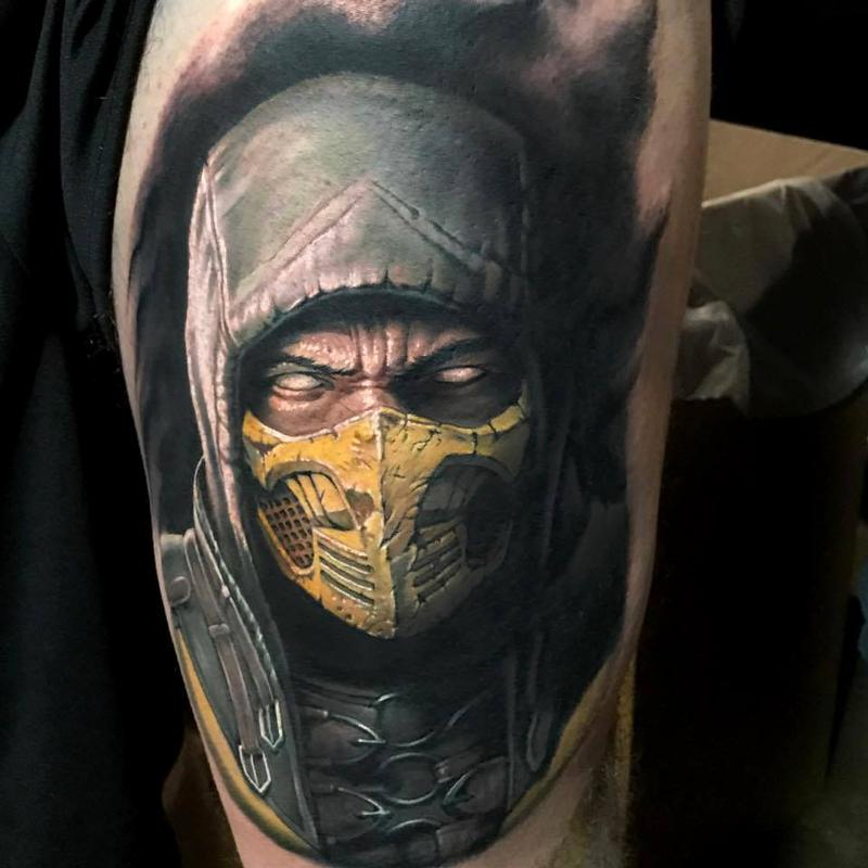 scorpion from mortal kombat portrait tattoo by evan olin tattoonow. Black Bedroom Furniture Sets. Home Design Ideas