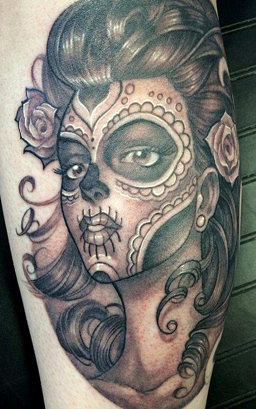 powerline tattoo tattoos mike boissoneault day of the dead pinup. Black Bedroom Furniture Sets. Home Design Ideas