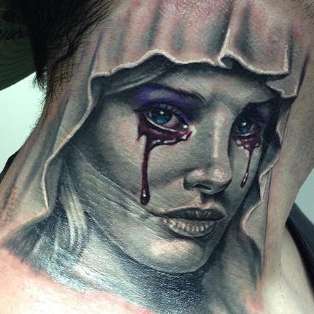 Tattoos - Black and gray (mostly) realistic Virgin Mary tattoo - 93322