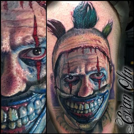 Portrait of Twisty the Clown from American Horror Story: Freakshow tattoo Tattoo Design Thumbnail