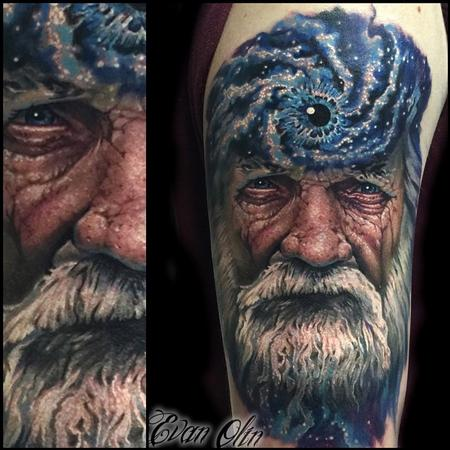 cosmic father time galaxy tattoo Tattoo Design Thumbnail